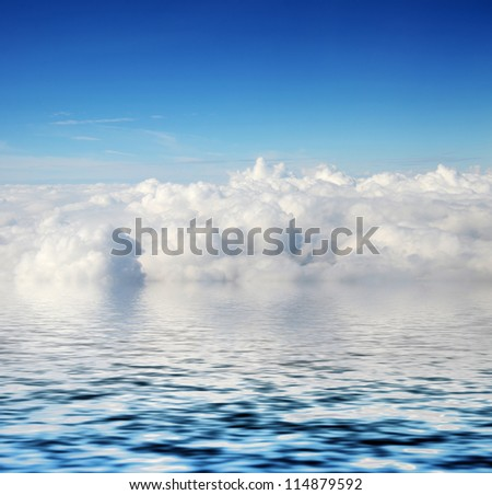cloudy blue sky and sea  background