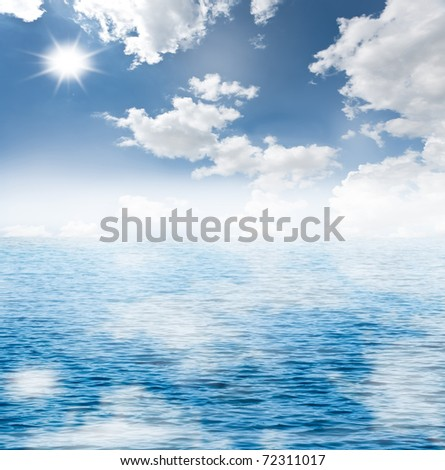 cloudy blue sky and the blue sea