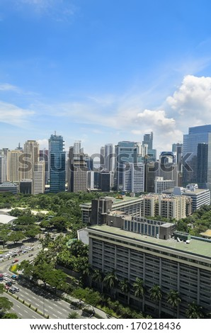 Cloudy day in Makati Business District, Philippines - stock photo