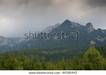 cloudy day in the mountains - stock photo
