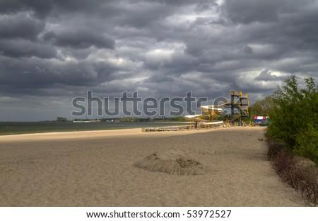 Cloudy day on polish beach of Baltic Sea - stock photo