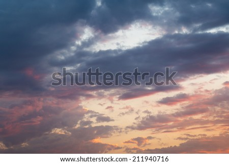 Cloudy evening sky background - stock photo