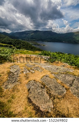 Cloudy Fells over Derwent Water - stock photo