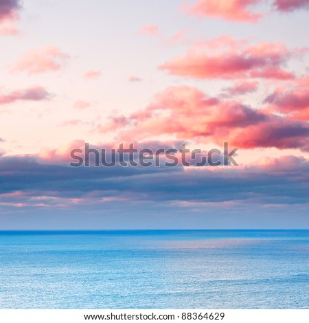 Cloudy morning seascape - stock photo