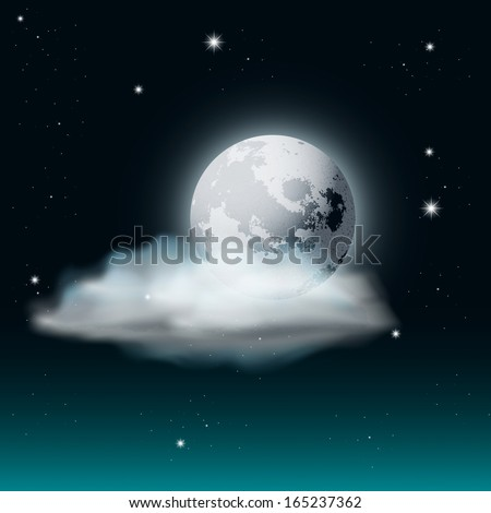 Cloudy Night Sky Illustration with Moon and Stars - stock photo