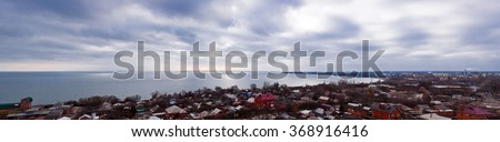 Cloudy panoramic view of city Taganrog, Russia (high resolution)   - stock photo