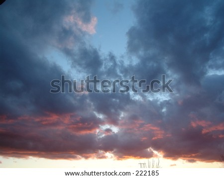 Cloudy Red Sunset - stock photo