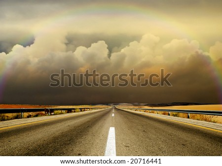 cloudy road - stock photo