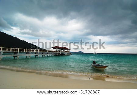 cloudy  seaview - stock photo