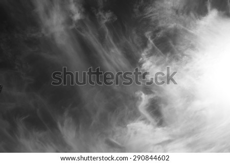cloudy sky - black and white - stock photo