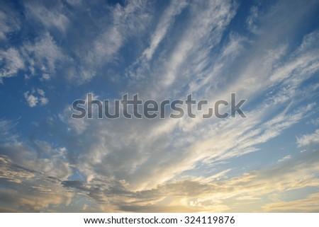Cloudy sky. Cirrus. Sunset - stock photo