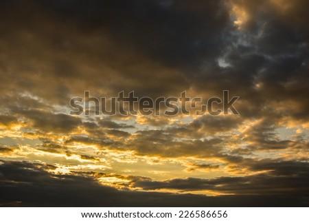 cloudy sky on sunset - stock photo