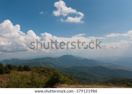 cloudy sky over range of mountain