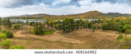 Cloudy Sky over the Chagres River and Hills - Gamboa, Panama  - stock photo
