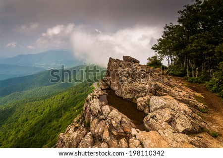 Cloudy spring view from Little Stony Man Cliffs in Shenandoah National Park, Virginia. - stock photo
