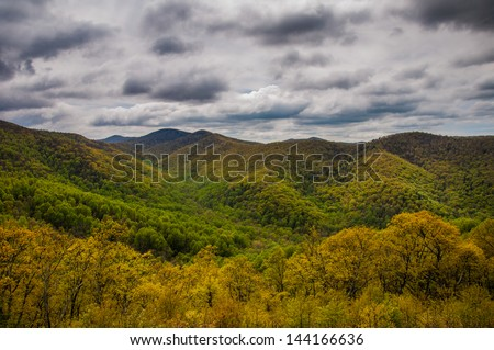 Cloudy spring view from Skyline Drive in Shenandoah National Park, Virginia. - stock photo