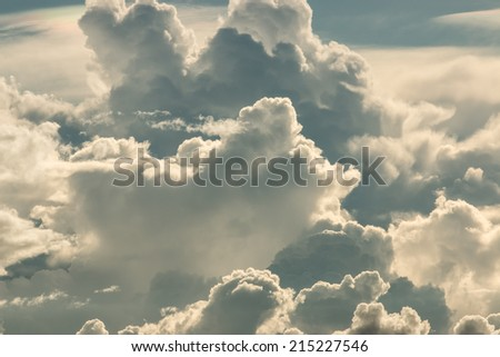Cloudy stormy black and white - stock photo