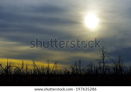 cloudy sunset before the storm in Mesa Verde National Park, Colorado in winter - stock photo