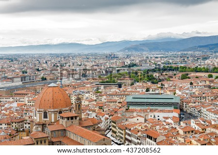 Cloudy view of Florence from viewpoint at top of the dome of Santa Maria del Fiore, Toscana region, Italy.