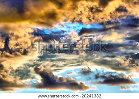cloudy weather in the sky. lowering clouds - stock photo