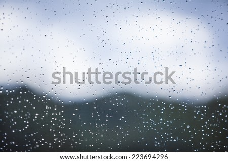 Cloudy weather through the window of the hospital room - stock photo