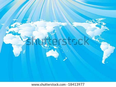 cloudy world map on blue sky background with copy space