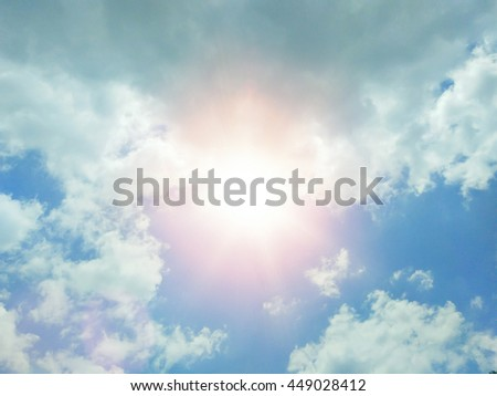 Clound in blue sky and sun for background.