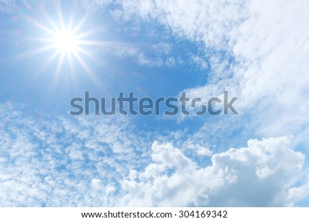 Clound in blue sky and sun for blackground - stock photo