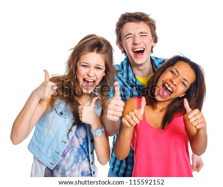 Clouse up portrait of three young teenagers laughing. Isolated on white background. - stock photo