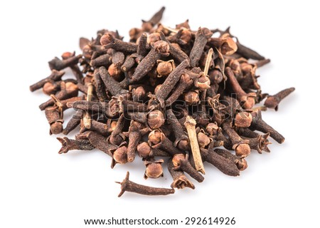 Clove spices over white background