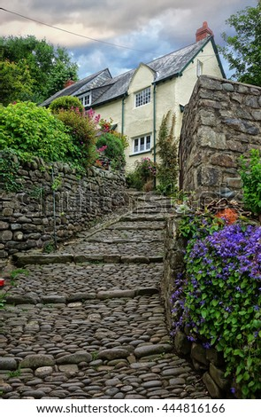 Clovelly, Devon, England. Cobbled street leading to cottages in the historic fishing village of Clovelly. - stock photo