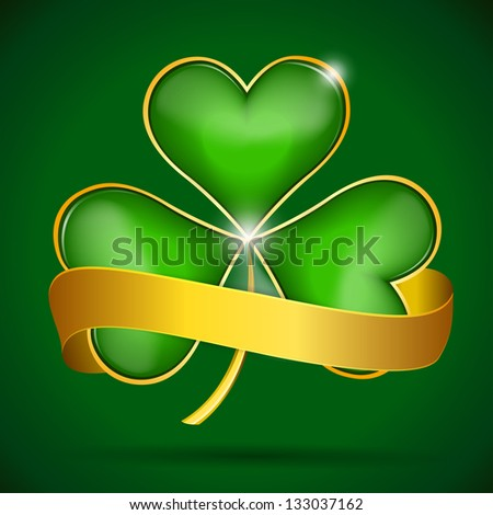 Clover leaf & gold ribbon, vector illustration for St. Patrick's day. Raster version. Vector image inside my portfolio - stock photo