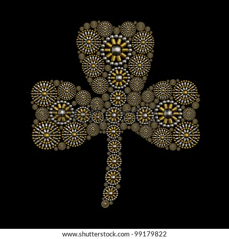 Clover symbol jewelry ornament made from metallic seed beads isolated on black background. Luxury shamrock jewelry concept