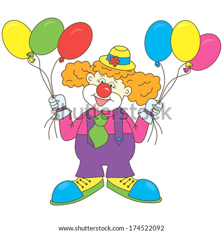 Clown. Balloons. Funny cartoon clown with balloons. Circus. Holiday. - stock photo