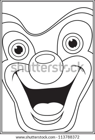 Clown coloring book page illustration - stock photo