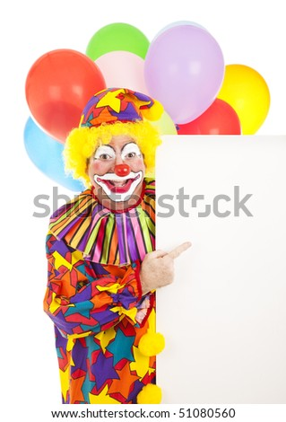 Clown holding a sign with blank space for your design.  Isolated on white.