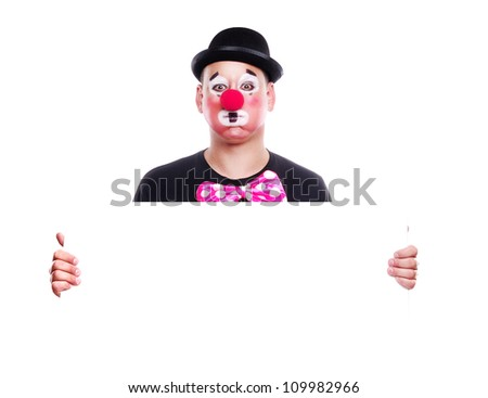 Clown in bowler hat holding the blank board - stock photo