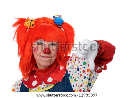 Clown in orange hair showing disapproval