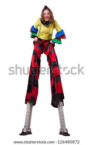 clown on stilts - stock photo