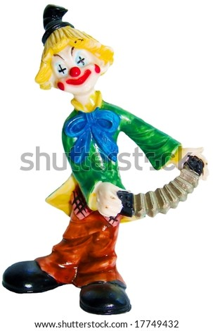 Clown statuette isolated over white background - stock photo