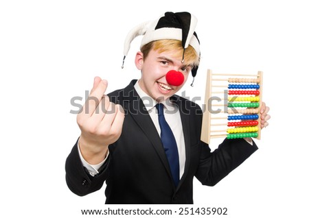 Clown with abacus isolated on white - stock photo