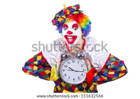 Clown with alarm clock isolated on white - stock photo