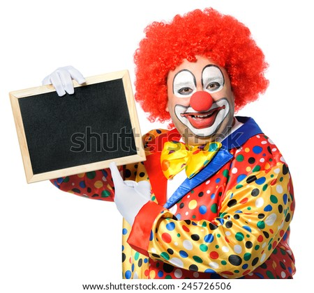 Clown with blank board isolated on white - stock photo