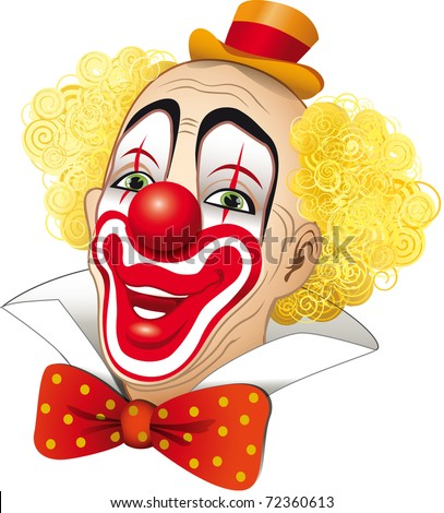 Clown with blond hair on a white background - stock photo