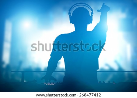 Club, disco DJ playing and mixing music for crowd of happy people. Nightlife, concert lights, flares - stock photo