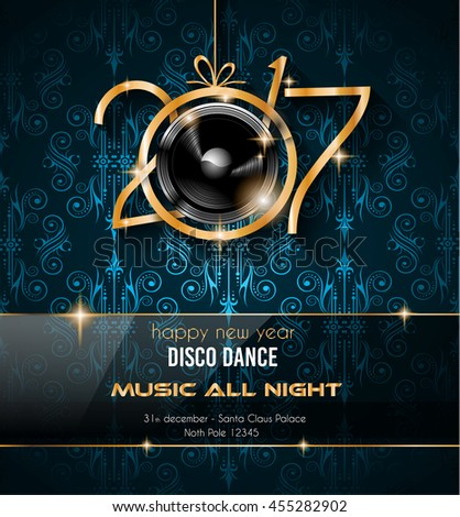 Club Disco Flyer Template Music Elements Stock Illustration