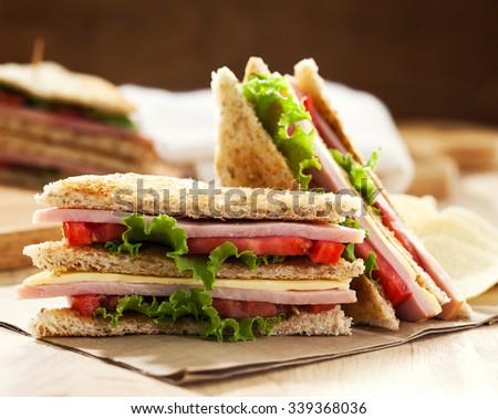 club sandwich with potato chip - stock photo