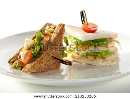 Club Sandwiches with Vegetables and Chicken - stock photo