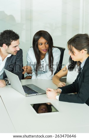 Clueless expression during brainstorming in a tidy, white office - stock photo