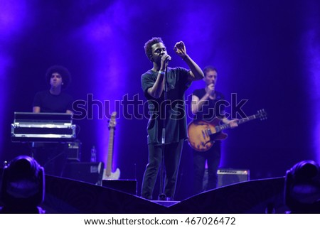 CLUJ-NAPOCA, ROMANIA - AUGUST 6, 2016: British Ghanaian artist Kwabs performs live on the Main Stage of Untold Festival